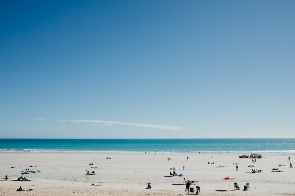 Cable Beach in Broome with sun umbrella and holiday makers