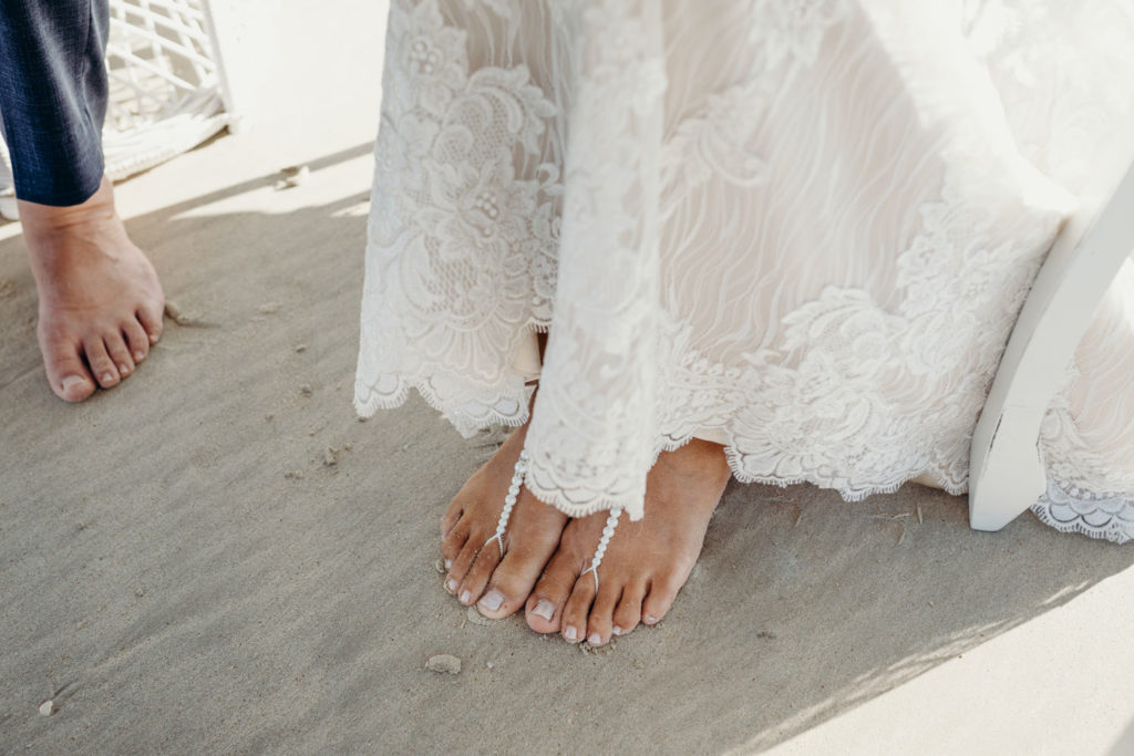 close up of barefoot feet of bride at Cable Beach wedding