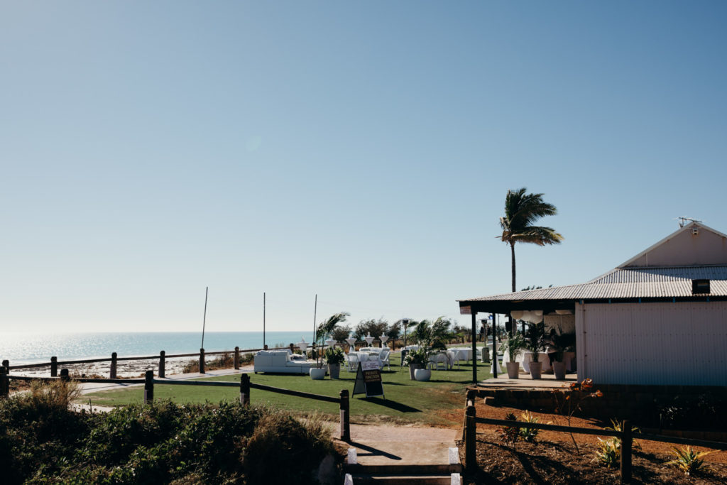 Broome surf club set up for a wedding reception with views over Cable Beach