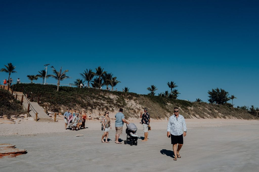 wedding guests arriving on Cable Beach for wedding
