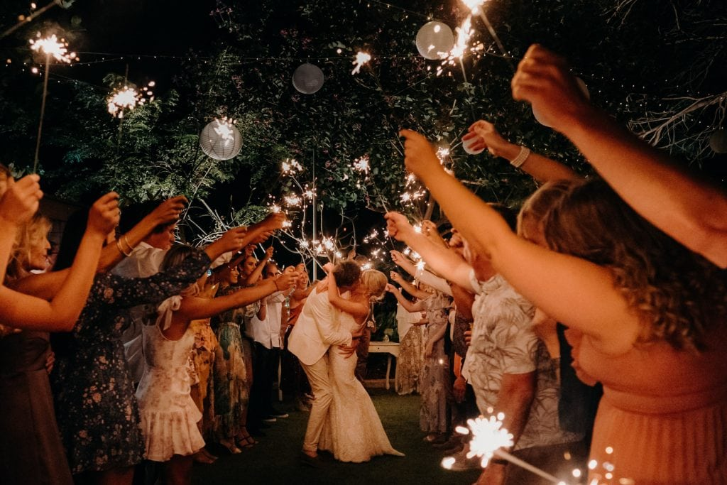 sparkler exit for the married couple at Broome Cable Beach wedding