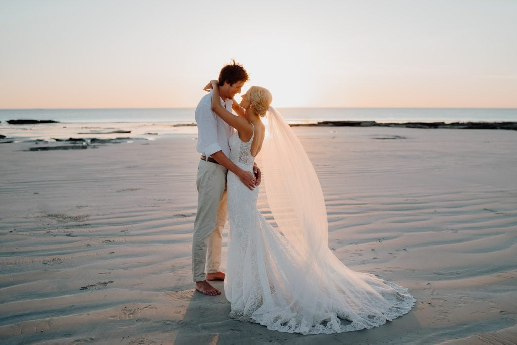 wedding couple on Cable Beach at sunset