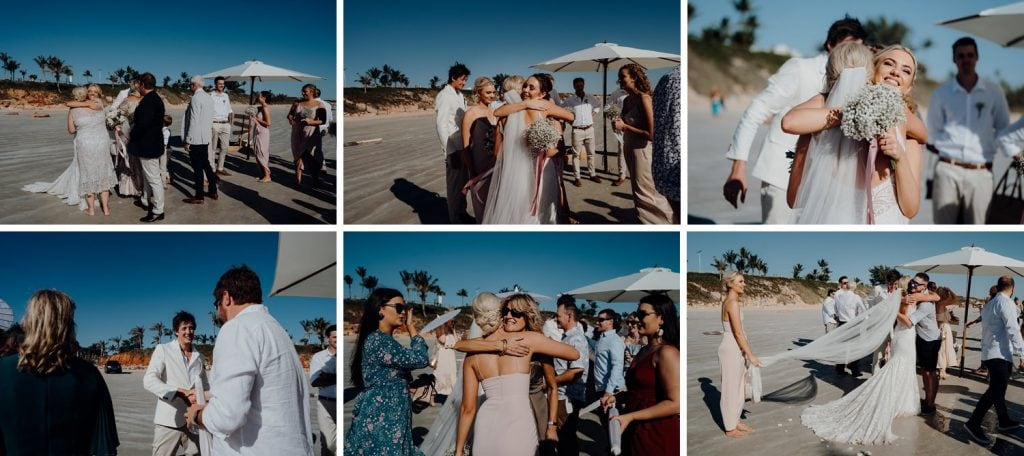 hugs and kisses and congratulations at Broome Cable Beach Wedding