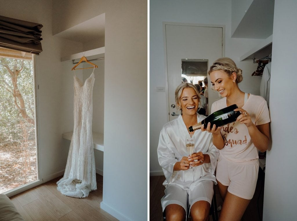 Bride and her sister are drinking champagne while they getting for Cable Beach Wedding