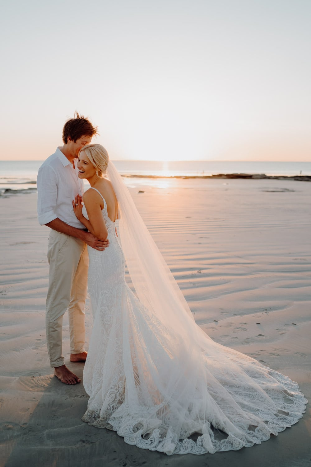 wedding couple on Cable beach in Broome