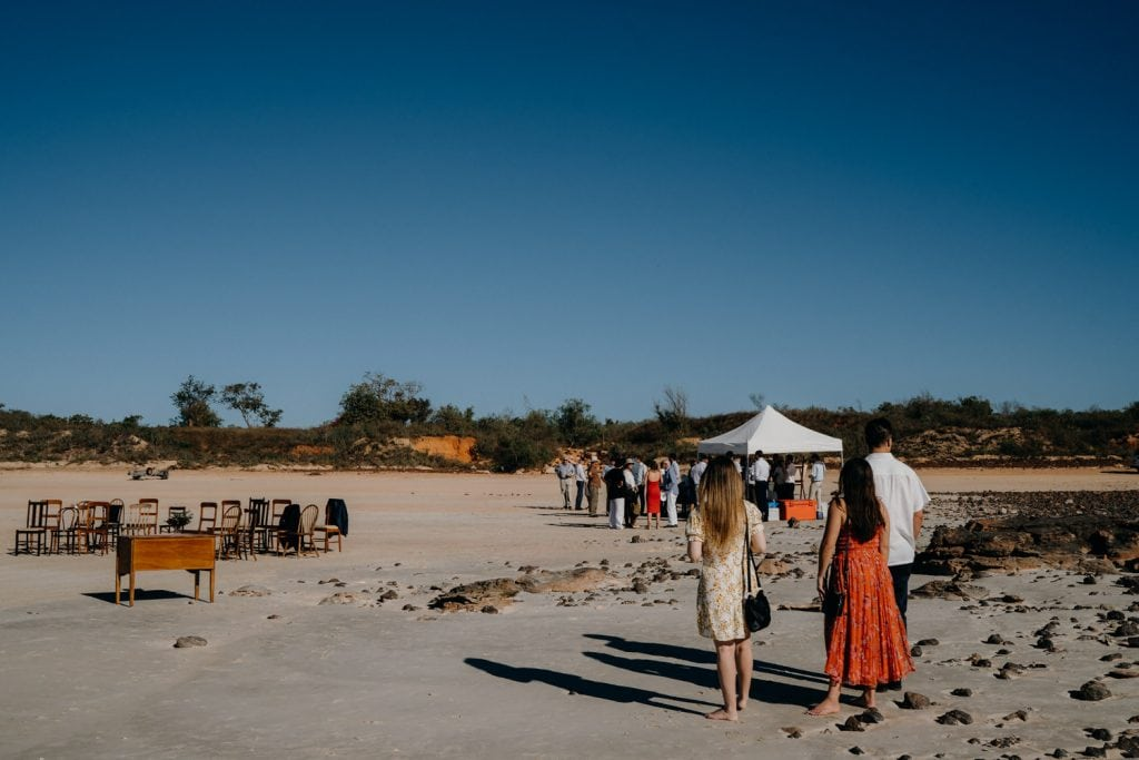 wedding guests on Cable Beach with chairs set up