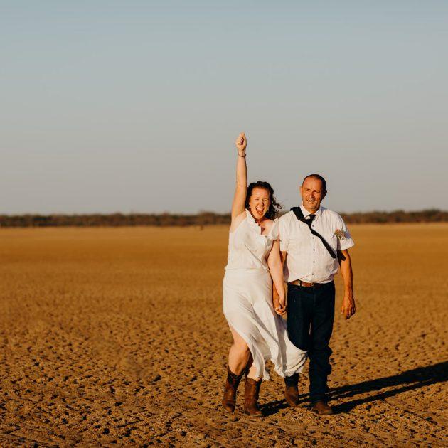 Wedding couple on Derby marsh