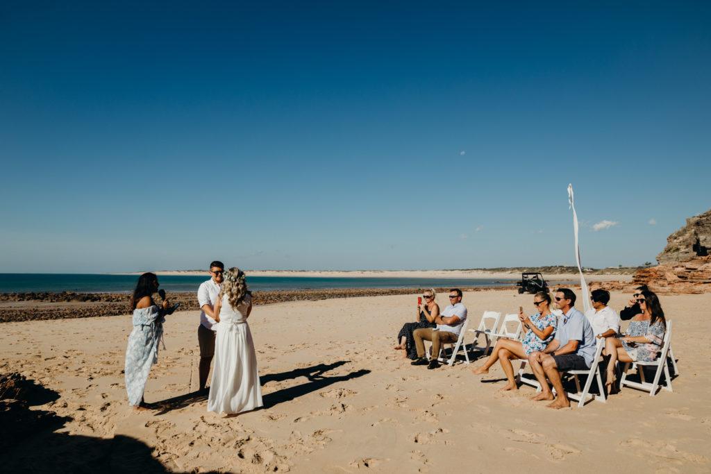wedding ceremony on the beach at Eco Beach Wedding