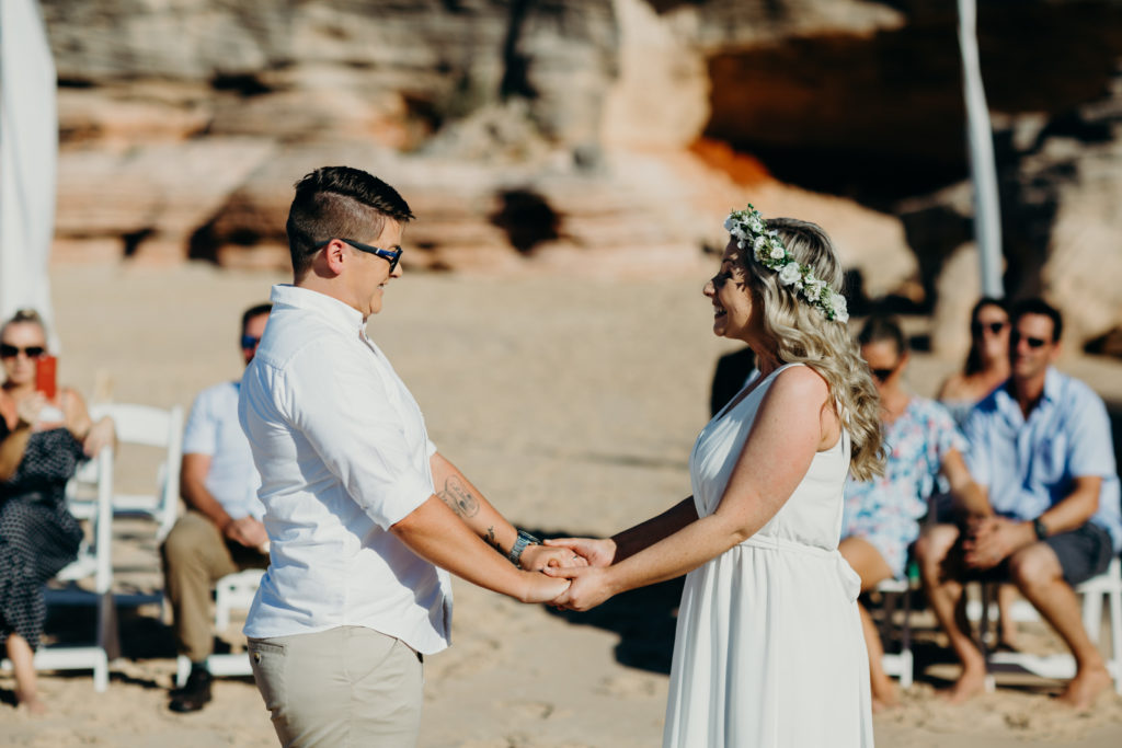 two women marrying eco other in Australia at Eco Beach Wedding