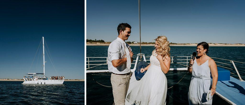 Catamaran wedding with Broome marriage celebrant