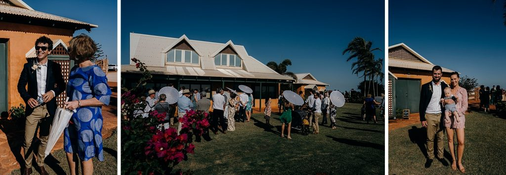 wedding guests arriving at Gnarangannie Gantheaume Point