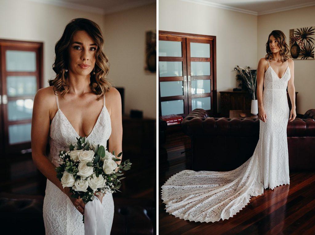 portrait of Broome bride in her wedding dress