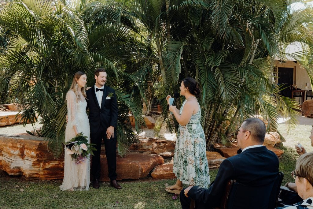 wedding ceremony in backyard with marriage celebrant Elle Saunders