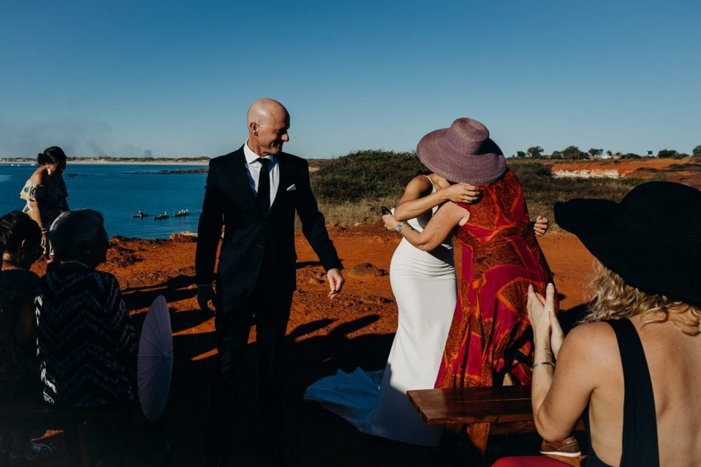 wedding guests congratulating the couple at Gantheaume Point wedding