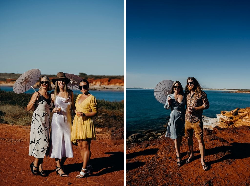 wedding guests and colourful dresses and parasols at Gantheaume Point in Broome
