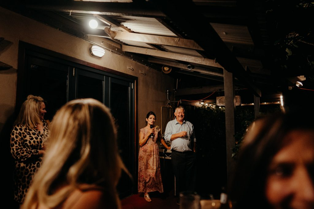 parents are giving speech at Cassie and Bryn's Gantheaume Point wedding at Aarli Bar