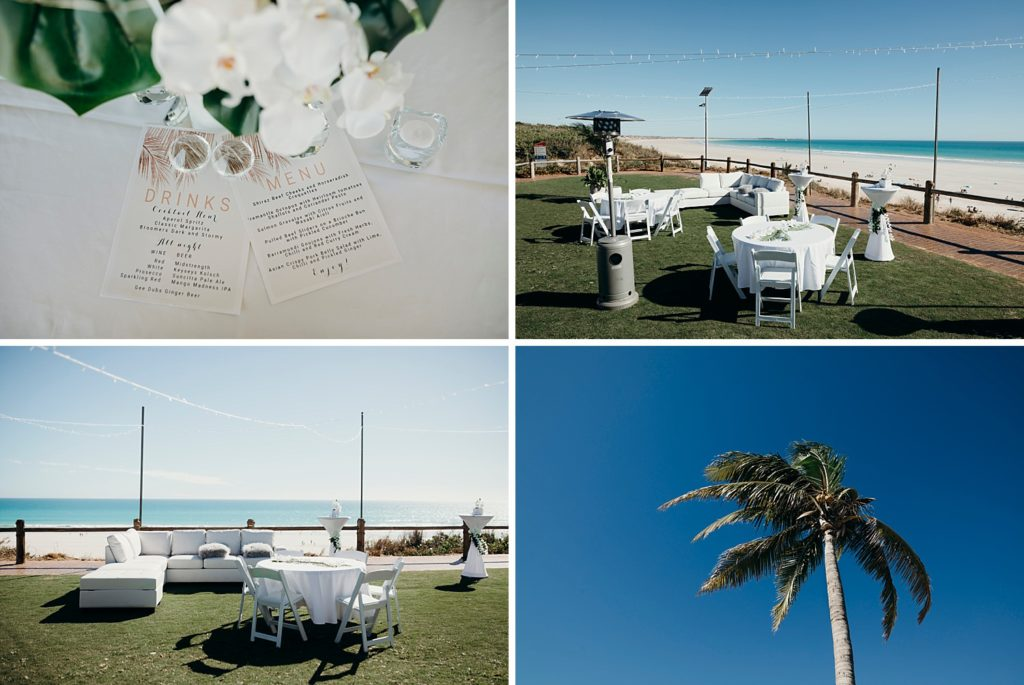collage of 4 photos of a wedding set up at Broome surf club