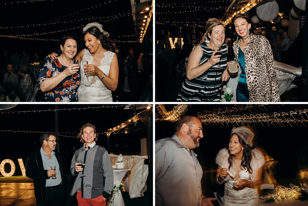 collage of four photos of wedding party at Broome surf club