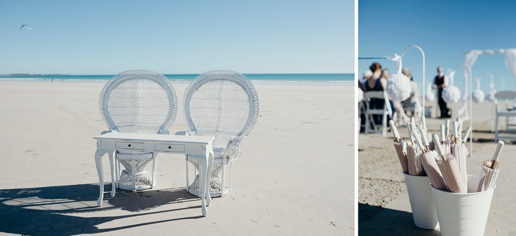 white peacock chairs and signing table on the beach