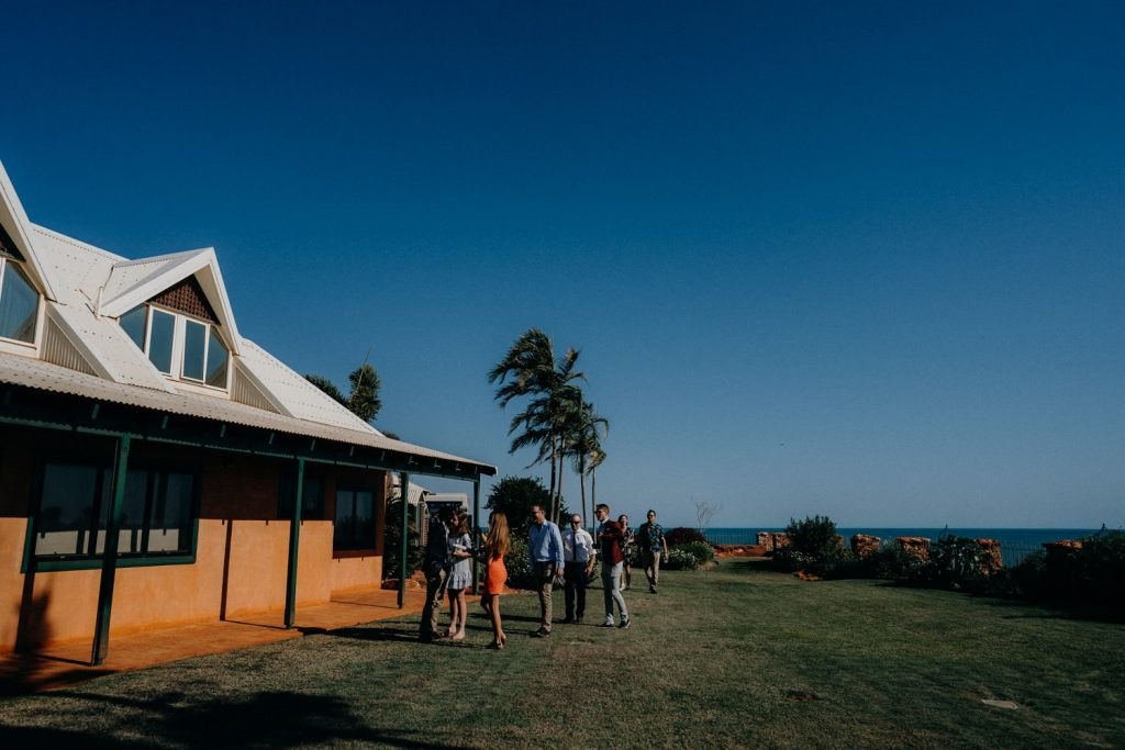 wedding guests arrive to Gnarangannie Gantheaume Point