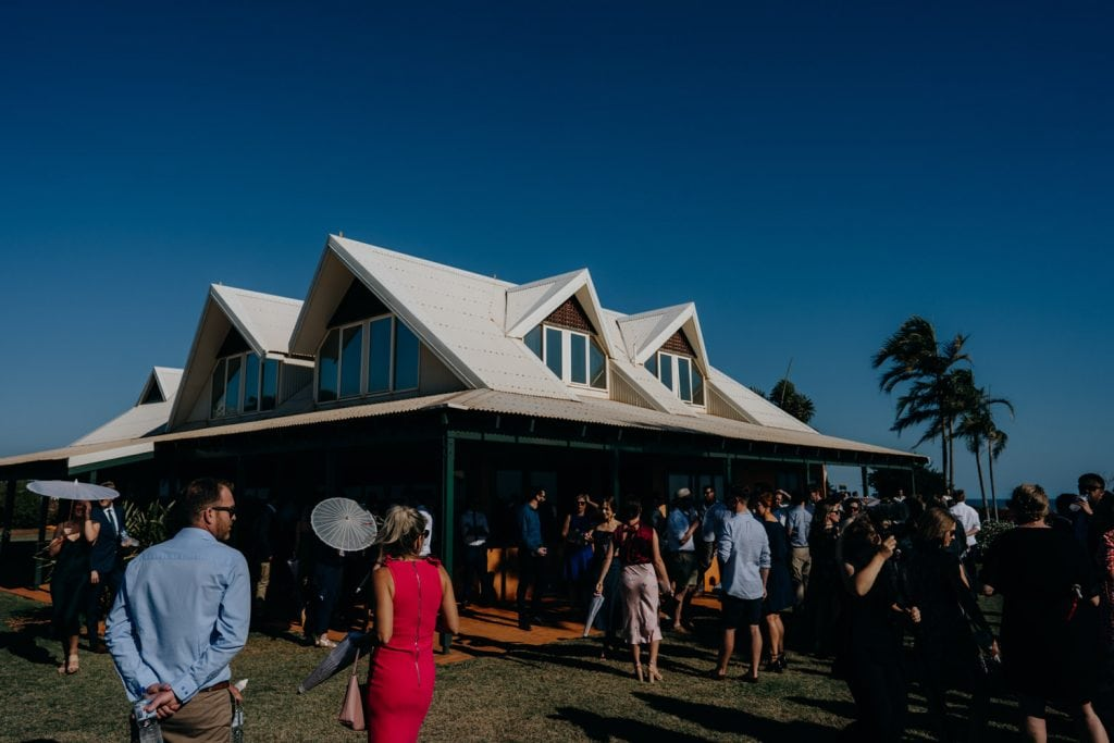 wedding guests surrounding the house at Gnarangannie in Broome