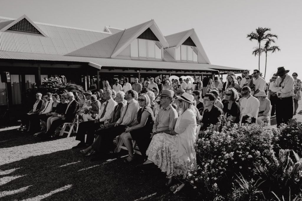 wedding guests seated at outdoor wedding at Gantheaume Point