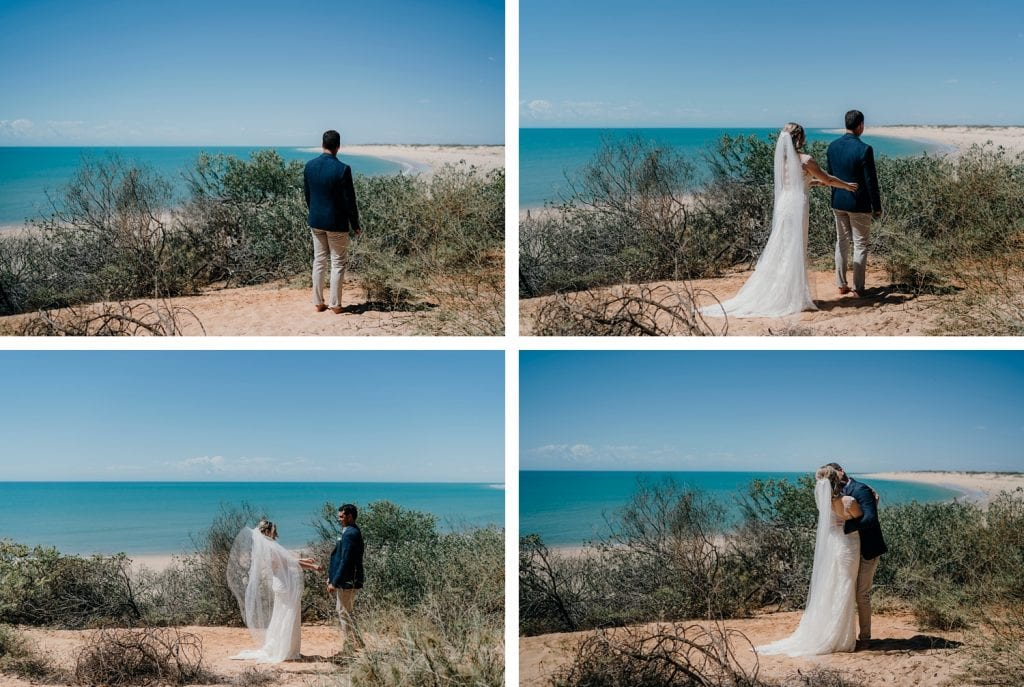 first look at eco beach elopement