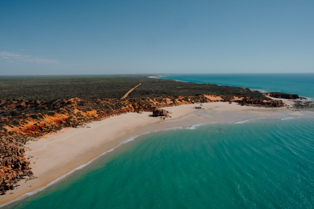 aerial view of Eco Beach from the helicopter at elopement wedding