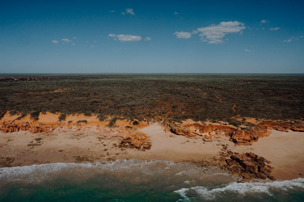 aerial view of the coastline along Eco Beach Resort south of Broome