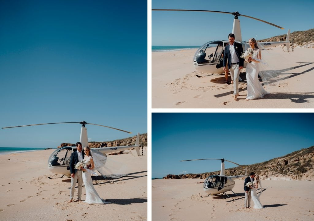 helicopter elopement couple on Eco Beach with blue sky and sunshine