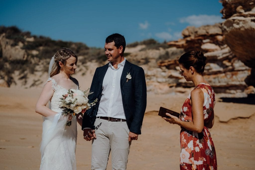 Eco Beach wedding ceremony at helicopter elopement