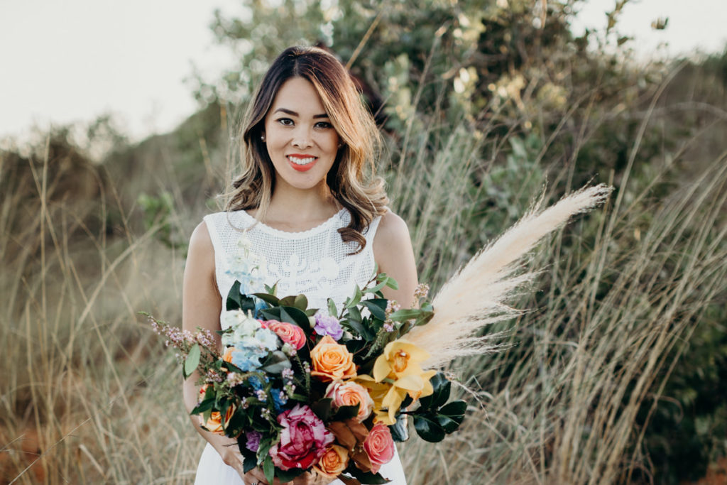 Kimberley bride in Zolotas Australia dress and flowers for boho inspired styled shoot