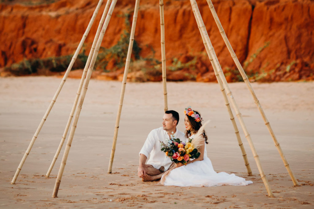 Kimberley styled shoot in Broome with Zolotas Australia, Broome Vintage Wedding Hire and Broome Florist
