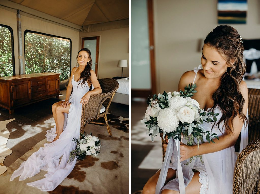 bride in wedding dress sitting in chair with flowers