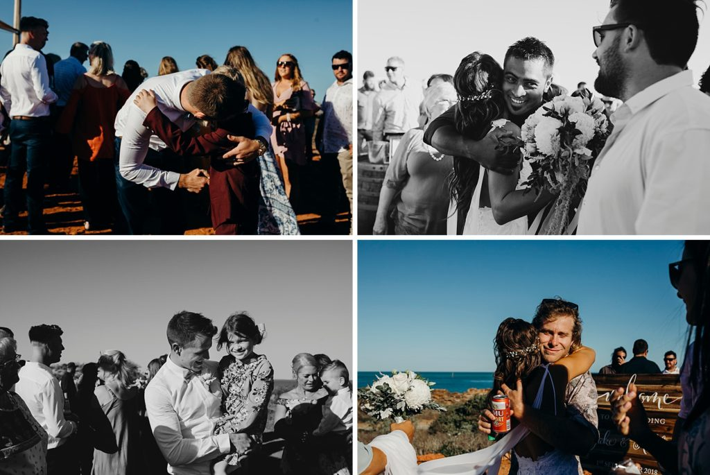 hugs and kisses by wedding guests at Broome wedding