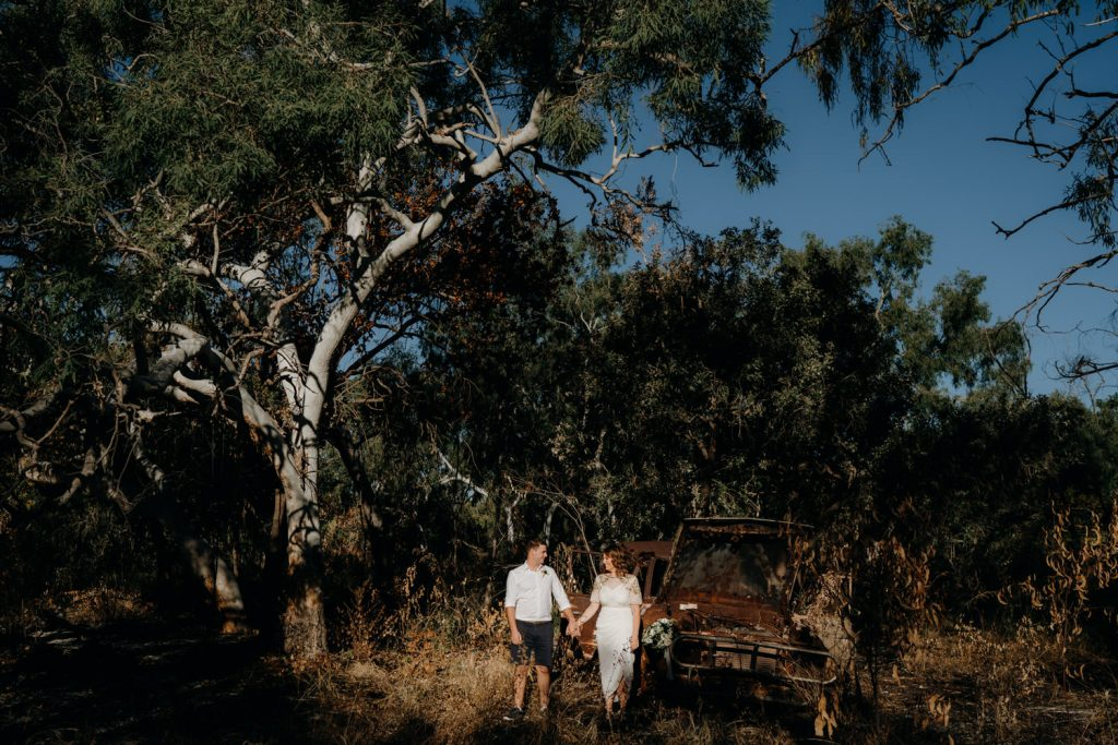 Cape Leveque Elopement First Look among gum trees