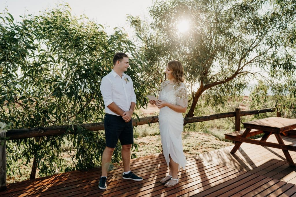 wedding couple exchange vows overlooking Cape Leveque