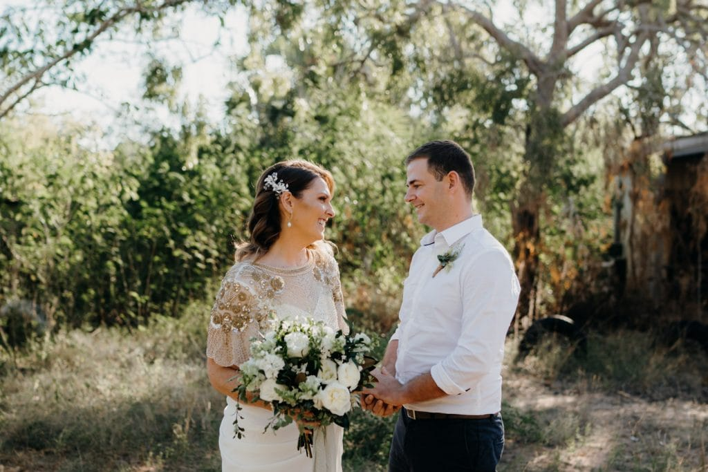 Cape Leveque Elopement Wedding couple smiling at each other