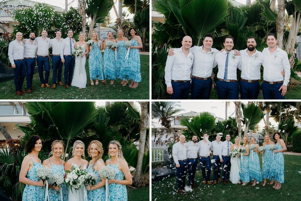 bridal party with confetti canons at Mangrove Hotel in Broome