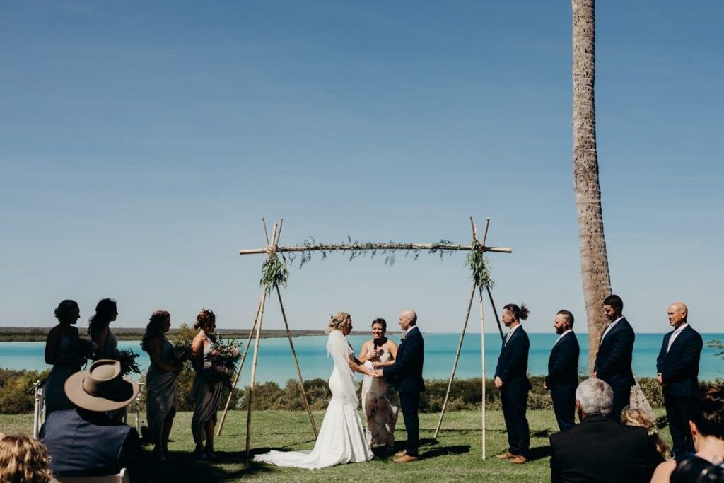 Broome ceremony at Mangrove Hotel wedding