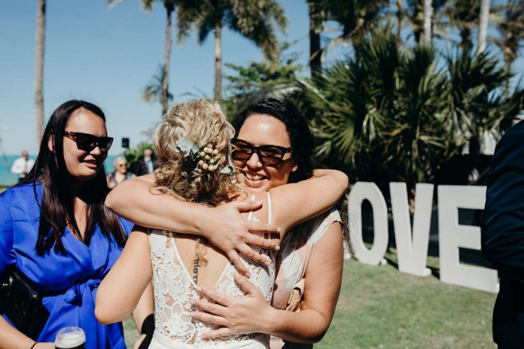 guest is congratulating the bride after the ceremony at the Mangrove Hotel in Broome