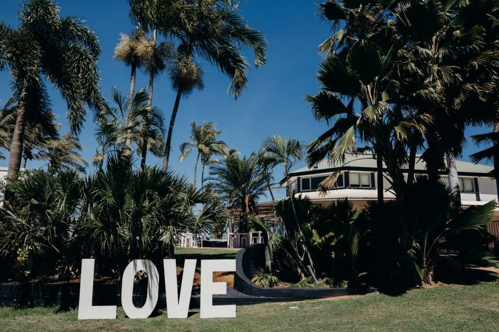 Giant love letters at the Mangrove Hotel wedding by Broome Vintage Wedding Hire
