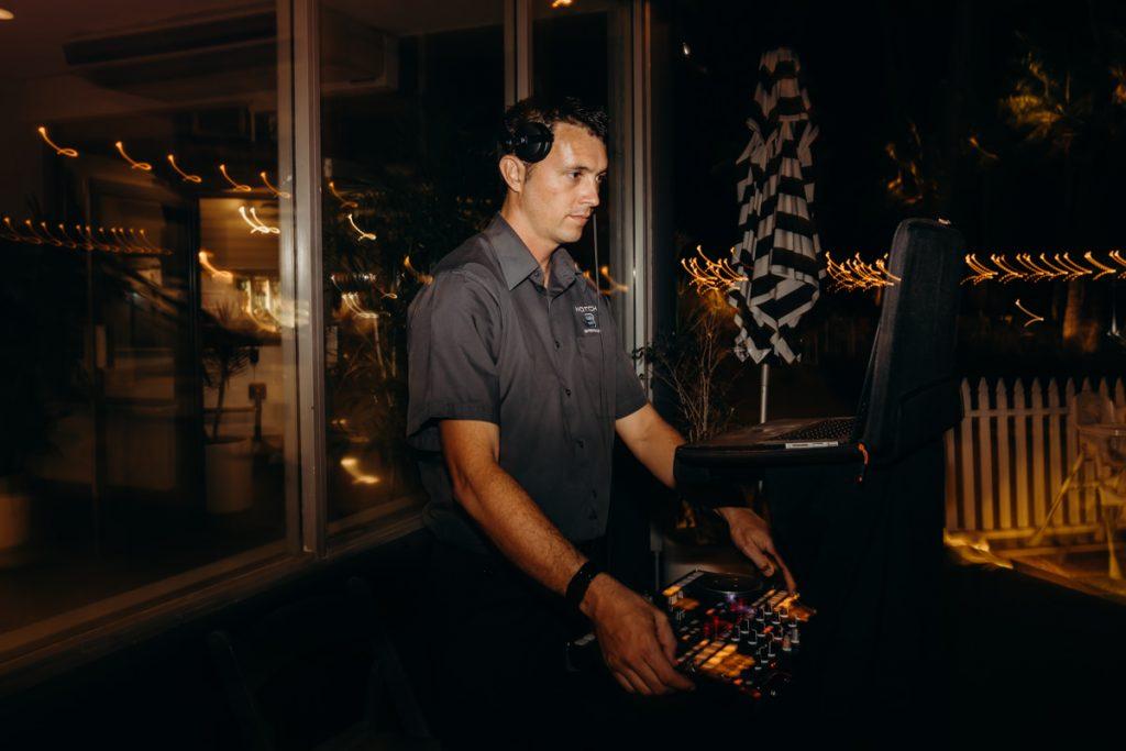 Broome DJ on the decks at Mangrove Hotel wedding