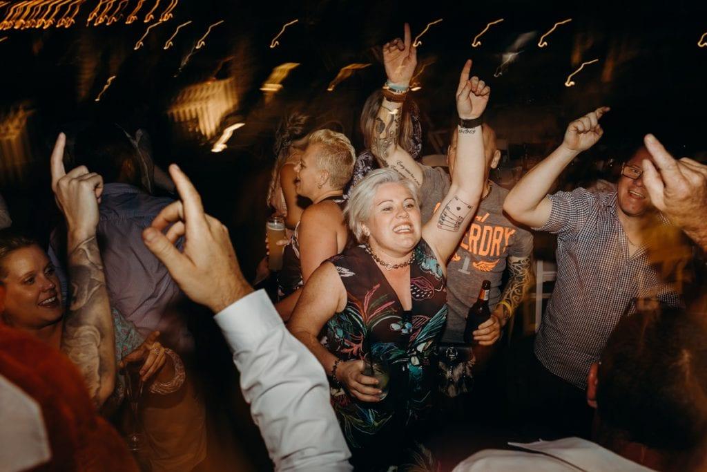 party on dancefloor at Broome wedding
