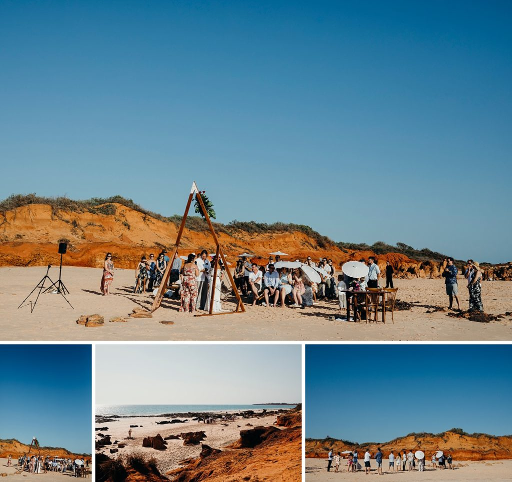 Riddell Beach ceremony in Broome Western Australia with red cliffs in the background