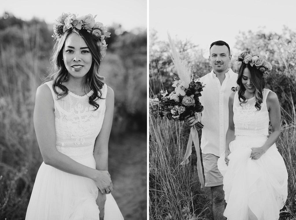 black and white photo of bride wearing Zolotas Australia dress