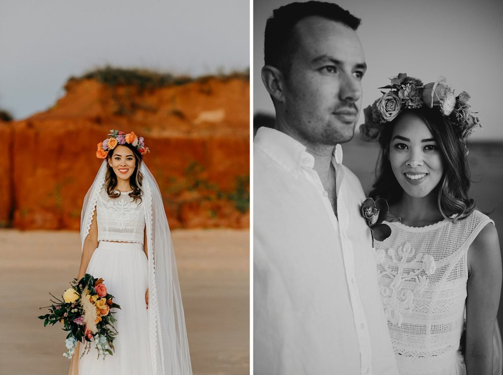 Kimberley groom with bride in Zoloatas Australia dress and long veil