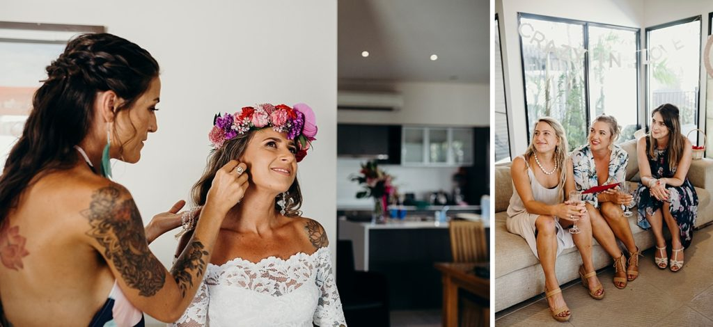 Riddell Beach wedding bride and bridesmaids getting ready at The Pearle Resort in Broome