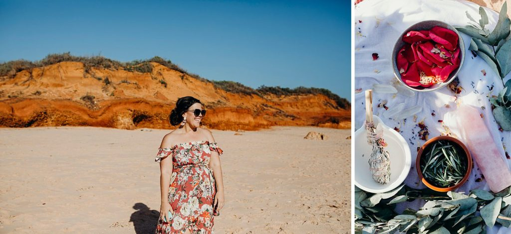 Elle Saunders Broome wedding celebrant smiling and laughing with red cliffs as backdrop at Riddell Beach