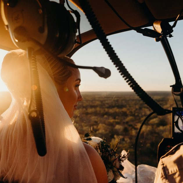 bride in helicopter at Broome elopement
